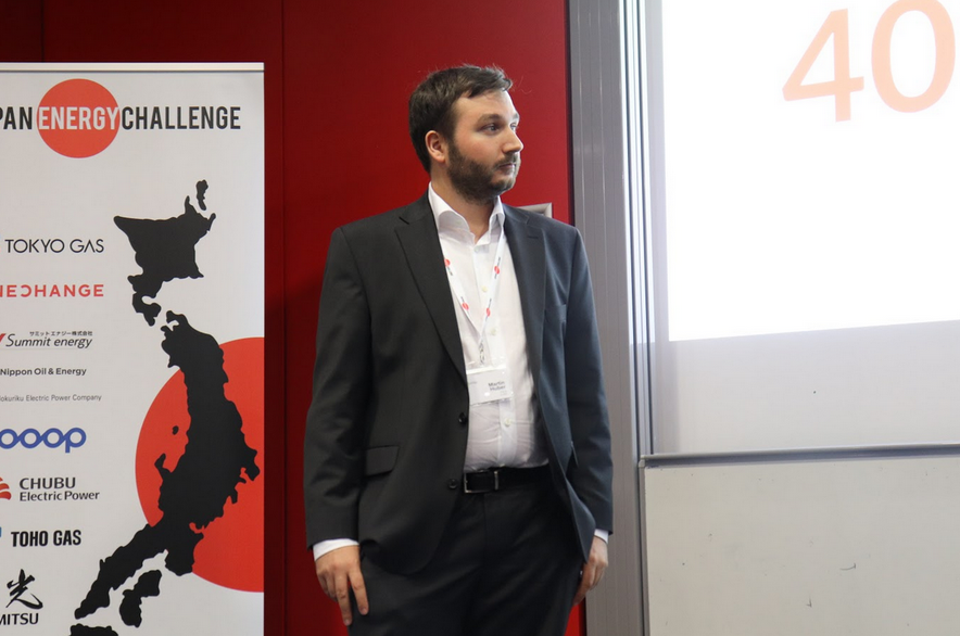 Martin Huber pitching Poligy's Bipolymer modules to JEC2019's sponsors. The Bipolimer modules can produce electricity, hot water and heat, while also storing excess energy.