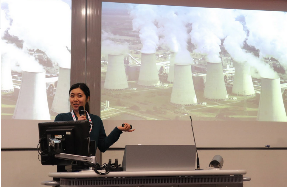 Alicia Leow in charge of International Business Development at Poligy, presents the benefits of her company's product. of Poligy claims that its technology can convert solar and industrial waste heat into electricity at a cheaper cost than any previous technology.