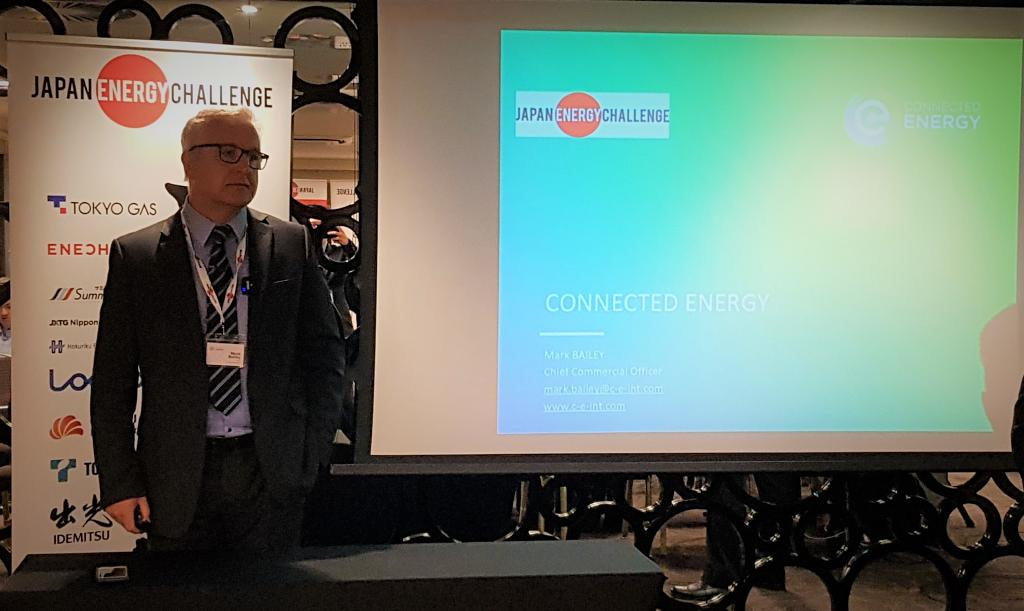 Mark Bailey, CCO of Connected Energy presenting his company at JEC2019 Venture Competition. Mark explained to sponsors in the audience how his company provides energy storage units comprised of second-life EV batteries.