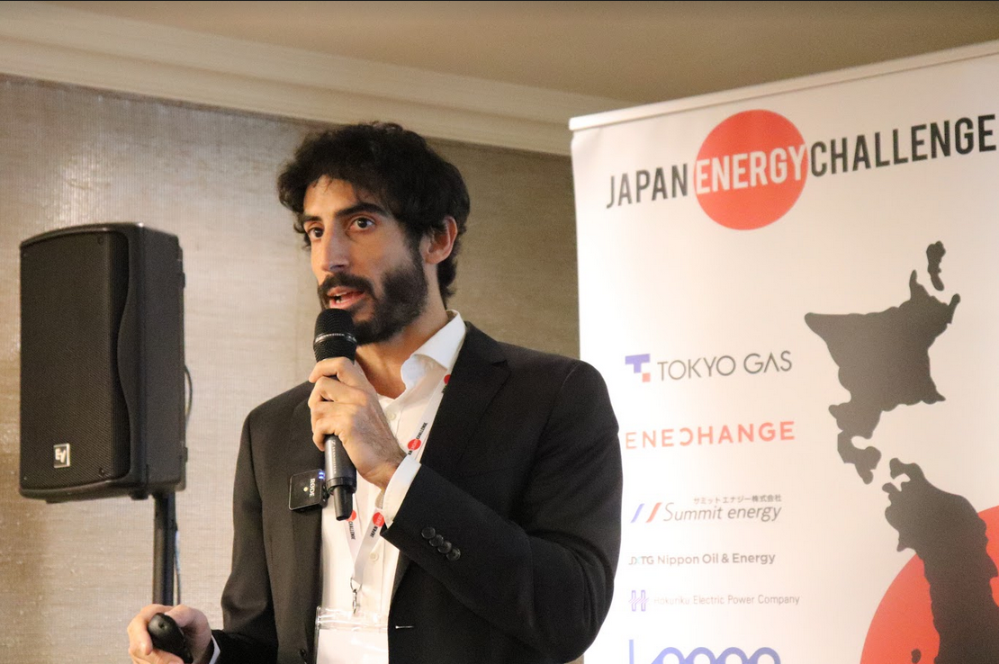"Victor Sancho, CCO and co-founder of Ezzing Solar presenting his company at JEC 2019. Ezzing have developed an ""all-in-one"" software solution that simplifies solar PV sales and allows companies to develop and be profitable in providing distributed generation."