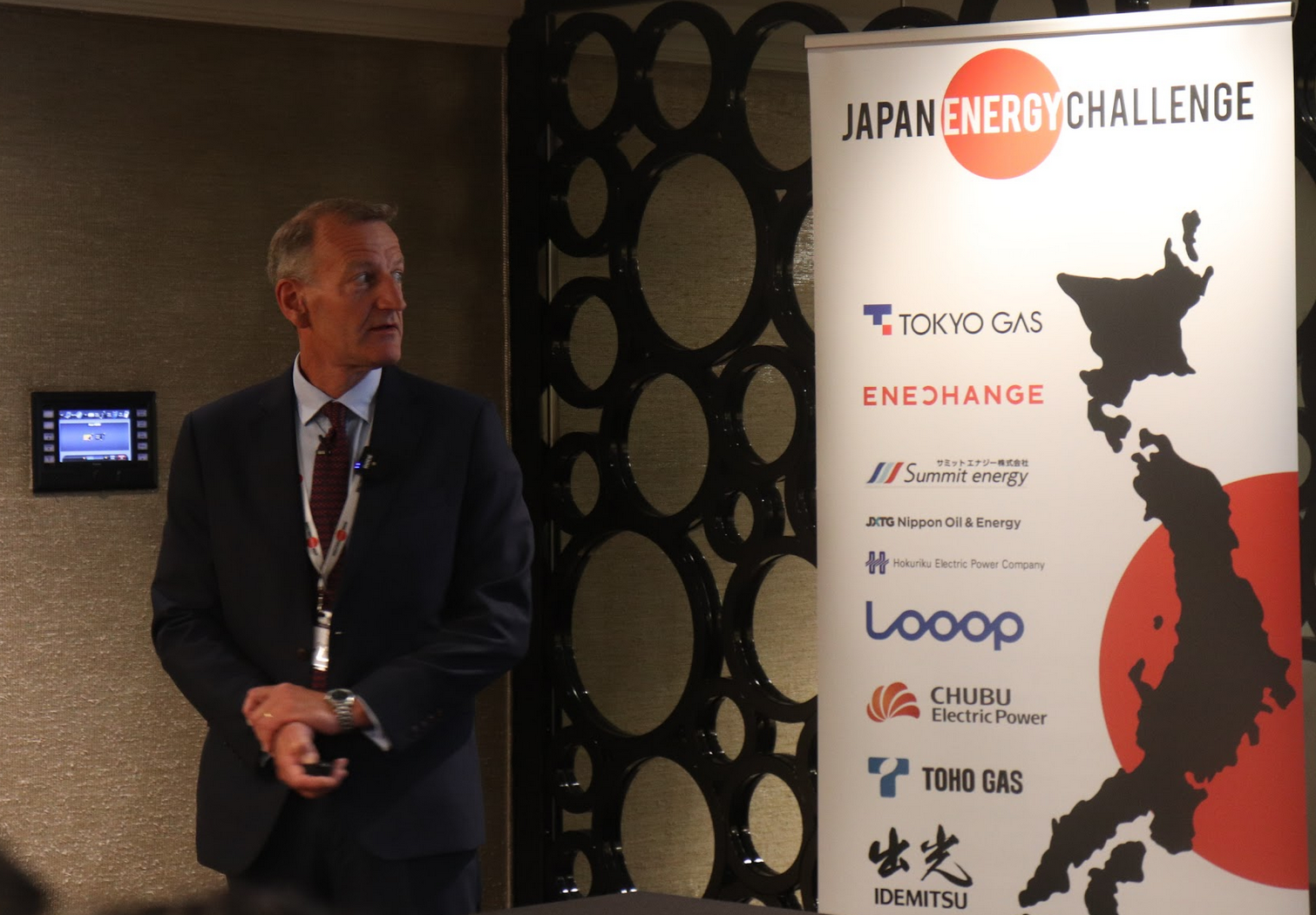 Patrick Caiger-Smith, CEO of Green Energy Options (geo) showcasing his company at JEC2019. GEO use their smart energy devices to help customers save money on their energy bills.